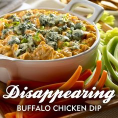 Disappearing Buffalo Chicken Dip, We're having an indoor tailgating party for The Big Game and we're already planning out recipes!