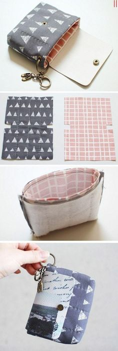 Card Holder & Key Ring is part of Diy bags - Credit Card Coin Key Ring Wallet DIY Tutorial in Pictures Sewing Hacks, Sewing Tutorials, Sewing Crafts, Sewing Projects, Sewing Patterns, Diy Projects, Sewing Art, Sewing Tips, Purse Patterns