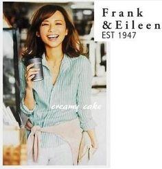 優木まおみ着♪フランク&アイリーン リネンストライプシャツ