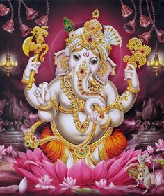 Ganesh Pink Lotus Bells and Deepa Painting Art Gallery Wrap Giclee Shiva Art, Ganesha Art, Krishna Art, Hindu Art, Ganesha Pictures, Ganesh Images, Ganesha Tattoo Lotus, Lotus Tattoo, Tattoo Ink