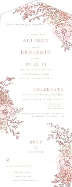 Forever Blooming - Signature White All-in-One Invitations in Fog or Taffy | Lady Jae