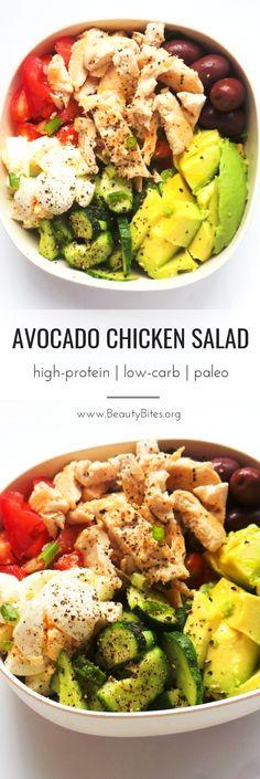 Avocado Chicken Salad - this is a healthy salad that is filling, high-protein, p. - Avocado Chicken Salad – this is a healthy salad that is filling, high-protein, paleo and low-carb - Avocado Chicken Salad, Chicken Salad Recipes, Recipe Chicken, High Protein Chicken Salad, Broccoli Salad, Tomato Salad, Fruit Salad, Salad Recipes Low Carb, Paleo Recipes