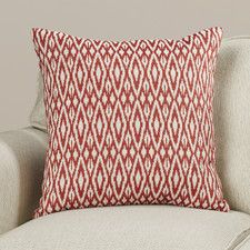 "Flax Bourton Ikat Cotton Throw Pillow by Wade Logan / Color:  ""Hot Pepper"" / $65.99 per pillow at All Modern / 18 x 18 / 20 x 20 +$13.22"