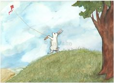 'Flying the Red Kite' watercolor by Nakisha. Really knows how to paint a good rabbit.