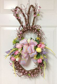Grapevine Berry Rabbit Wreath, Bunny Easter Spring Wreath, Easter Eggs Ribbon, Door Hanger, Housewares Easter Decor, Home Decoration
