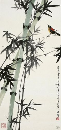 for the 'little room' Sumi E Painting, Japan Painting, Chinese Painting, Bamboo Tattoo, Art Chinois, Japon Illustration, Bamboo Art, Art Japonais, Japanese Calligraphy