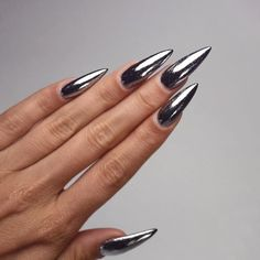 Metallic Stilletos. Tag a friend who'd rock these. #Nails #Nailinspo #Inspiration #Inspo #NailGoals #Goals #Stiletto #Pointed #Claws #Nailsdid #Metallic #Silver #Gray #Grey #Love #Suavecitabeauty #Suavecita
