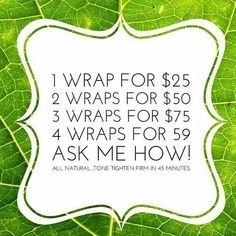 I have Wraps in Stock! Just amazing before and after! It Works Skinny Wraps really work, with real results in as little as 45 minutes! These prices are 40% off retail cost❗Text or call or message for more information 801-244-1839 or go to my updated website at www. Ashleyitworkswraps.myitworks.Com or email me at ashleypateyitworkswraps@gmail.Com