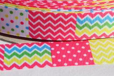 SALE***Festive Spring 7/8 Inch Grosgrain Ribbon by the Yard for Hairbows, Scrapbooking, and More!!