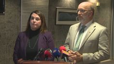 Minister Siobhan Coady and Perry Trimper at a new conference Wednesday, where they announced government is telling Nalcor to clear more forest cover from the Muskrat Falls reservoir site.