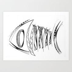 Fish Bones Art Print by Lyn Symon AKA Dream Doodles - $17.00