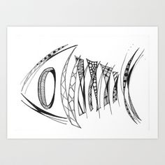 Fish Bones Art Print by Lyn Symon AKA Dream Doodles - $17.00