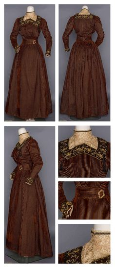 """VELVET AFTERNOON DRESS, LATE 1890s 2-piece, rusty brown velvet corduroy w/ yellow stripes, black net trim w/ cream & gold embroidery, high inset lace dicky, cut steel on gold metal buckle at W, B 34"""", W 25"""", Skirt L 37""""-39"""", (fabric beneath lace worn, jacket edge worn) excellent. Augusta Auctions."""