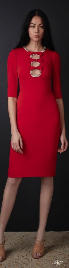Pre-Fall 2016 Jenny Packham red dress women fashion outfit clothing style apparel @roressclothes closet ideas