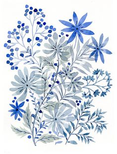 Items similar to Original Watercolor Painting- Blue Flowers on Etsy - Gift Love - Items similar to Original Watercolor Painting- Blue Flowers on Etsy Original Watercolor Painting Blue Flowers by VikkiChu on Etsy Watercolor Flowers, Watercolor Paintings, Art Paintings, Drawing Flowers, Painting Flowers, Art Et Illustration, Floral Illustrations, Blue Drawings, Art Drawings