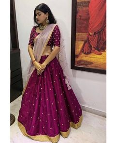 Stunning purple color lehenga and blouse with blush pink color net dupatta. Lehenga and blouse with floral buti design hand embroidery work allover. Lehenga Saree Design, Half Saree Lehenga, Lehnga Dress, Lehenga Designs, Saree Blouse Designs, Blouse For Lehenga, Pink Lehenga, Indian Fashion Dresses, Indian Gowns Dresses
