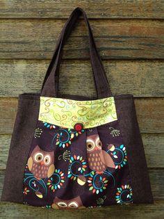 Brown Green Owl Purse          CreativeSews.com