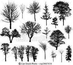 tree silhouette ideas (I love the middle tree!)