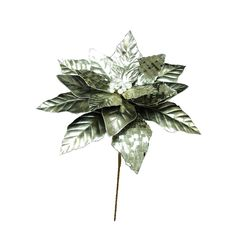 """14"""""""" Platinum Poinsettia Stem 12"""""""" Flower"""
