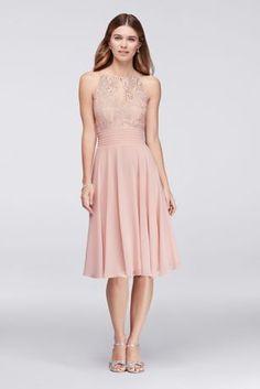 Lace Appliqued Illusion Short Bridesmaid Dress - Davids Bridal