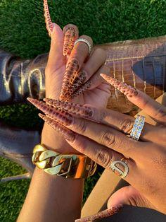 Nail Design Stiletto, Nail Design Glitter, Stiletto Nails, Brown Acrylic Nails, Bling Acrylic Nails, Best Acrylic Nails, Shoe Nails, Aycrlic Nails, Glam Nails