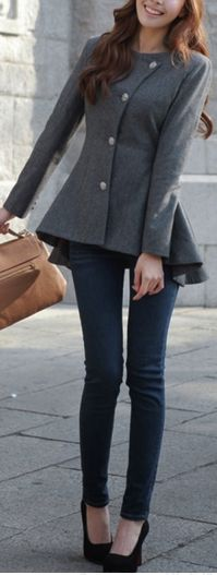 Peplum coat | #beauty #fashion #style love this jacket