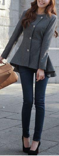 Peplum coat | #beauty #fashion #style love this jacket