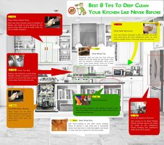 Best 8 Tips To Deep Clean Your Kitchen Like Never Before Diy Cleaning Products, Cleaning Solutions, Cleaning Hacks, Kitchen Cheat Sheets, Deep Cleaning Services, Professional Cleaners, Diy Cleaners, Spring Cleaning, Clean House