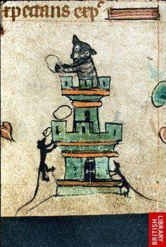 Gato defendiéndose del ataque de las ratas desde lo alto de una torre. Procede de un libro de horas del siglo XIV.
