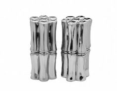 """Godinger BAMBOO SALT/PEPPER by TheCozyPineapple. $24.49. Measures approx: 1.5"""" diameter, 3"""" high.. Set of 2 shakers. Made of silver plated material. SET OF 2 BAMBOO DESIGN SALT AND PEPPER SHAKERS"""