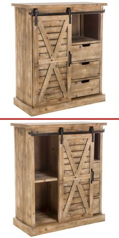 Love this Farmhouse Cabinet with Sliding Door with Drawers! Perfect for a rustic decor and allows for plenty of storage and organization. Farmhouse | Fixer Upper | Farmhouse Living Room #ad