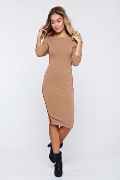 StarShinerS brown casual pencil dress from elastic fabric, back zipper fastening, tented cut, 3/4 sleeves, elastic fabric