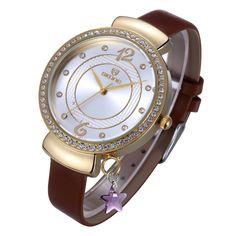 $19,50 Skone Yellow Gold Rhinestone Big Dial Fashion Leather Strap Watches Women Brand Analog Quartz Movt Lady Watch with Star #Gold #Fashion#Watches #Quartz #Watch