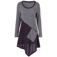 Asymmetric Hem Knitted Top with One Pocket Diy Fashion Accessories, Spandex, Sammy Dress, Cute Tops, Long Sleeve Tops, Tunic Tops, Couture, Pocket, Casual