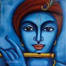 'Krishna oil on canvas by Pratibha Madan Simple Canvas Paintings, Oil Pastel Paintings, Indian Art Paintings, Modern Art Paintings, Canvas Art, Abstract Paintings, Ganesha Painting, Buddha Painting, Madhubani Painting
