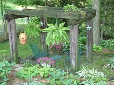 railroad  tie  arbor  at  bottom  of  hill that  my  oldest  son   built  for  me