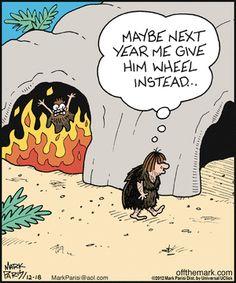 The gift of fire. Off the Mark on GoComics.com #Fire #Humor #Cavemen #Comics