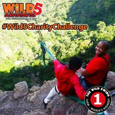 """Editor of the South Coast Fever jumps for charity!  Our second challenge has been completed! Vusi Mthalane, Editor from the South Coast Fever with his girlfriend Pinky Nsele took the #Wild5CharityChallenge by the horns by doing the #WildSwing on Sunday 1 May 2016. Situated at the top of Lehr's Waterfall in Oribi Gorge, this is the highest swing of its kind in the world. """"Had a blast today at Oribi, it was even more fun that I thought I was going to have!"""" Vusi told Wild 5 Adventures.  Watch… Thing 1, Horns, More Fun, Editor, Charity, Waterfall, Coast, Sunday, Challenges"""