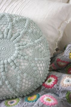 belindag:   Vintage Crochet Cushion Love by Coco Rose1