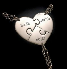 Engraved Silver Sister Necklaces.  Big Sis, Mid Sis, Lil Sis Necklaces - $145 - £95