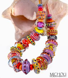 Colourful Lampwork Art-Glass Beads by 'michou.pascale anderson' on ebay❁≻⊰❤⊱≺❁