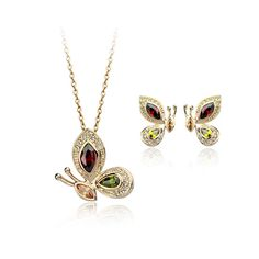 Authentic Austrian wine red and green 18k gold plated butterfly necklace earrings jewelry set [JS539] - US$13.74 : www.evernewfashion.com