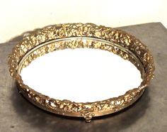 vintage round mirrored tray - 1950s hollywood regency gold filigree mirror vanity tray by mkmack on Etsy