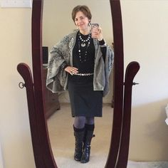 Was repeating black and gray for a #stylechallenge and paired #cabiclothing gray ponte skirt with the #gigicape and a black top from #anntaylor. Belt from #macys and boots are #bcbg. Kept up the color theme with #SilpadaStyle with the totally gorgeous and sparkly Glamour necklace! #WhatIWore #ootd #womeninbusiness #fashionover40
