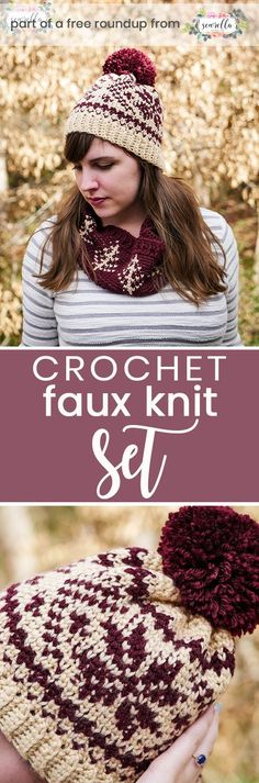Get the free crochet pattern for this faux knit fair isle beanie hat and cowl scarf from Sewrella featured in my crochet that looks knit FREE pattern roundup! Crochet Winter, Crochet Scarves, Crochet Hooks, Crochet Clothes, Crochet Stitches, Crochet Patterns, Crochet Ideas, Crochet Crafts, Crochet Hat For Women
