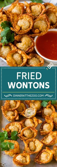 This fried wonton recipe is tender wrappers stuffed with ground pork, mushrooms and seasonings, then deep fried to crispy golden brown perfection. Pork Wonton Recipe, Wonton Recipes, Pork Recipes, Asian Recipes, Cooking Recipes, Ethnic Recipes, Vietnamese Recipes, Sweet Recipes, Asian Appetizers