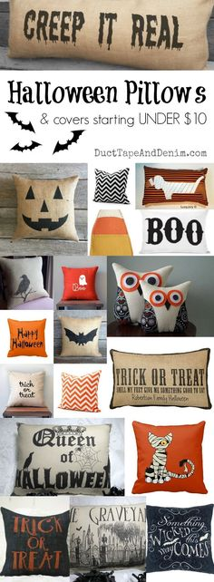 Halloween pillows and pillow covers starting at UNDER $10.00! More fall decor ideas on Duct Tape and Denim blog. http://DuctTapeAndDenim.com