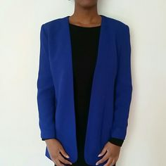HP Vintage royal blue long gold hardware blazer Great vintage condition. Two functional pockets. No closure in front. Length 28 inches. Bust 17 inches. Petite size 4. Two gold buttons per sleeve.  Shoulder pads. Liz Claiborne Jackets & Coats Blazers
