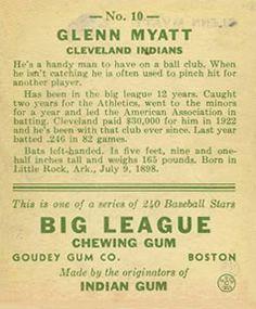 1933 Goudey #10 Glenn Myatt Back