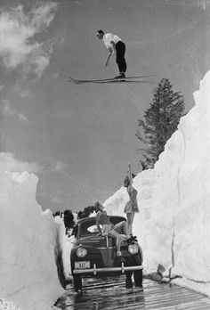 Retro ski jump over a car!  Black and white throwback | www.boardtrader.com